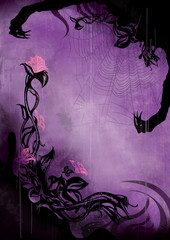 Horror background with grunge flowers and a spider web