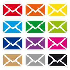 Set E-Mail Icon Button Vektor