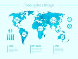 World map infographic template
