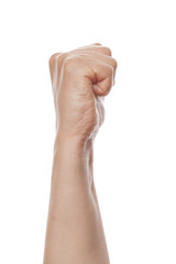 Clenched fist isolated on a white background