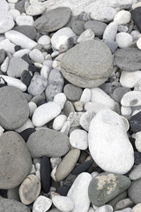 grey pebbles and rocks in a beach