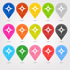 Colorful Stitched Location Mapping Pins Icon Sets