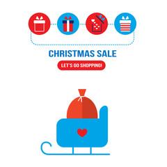 Christmas sleigh with presents and gift box icons