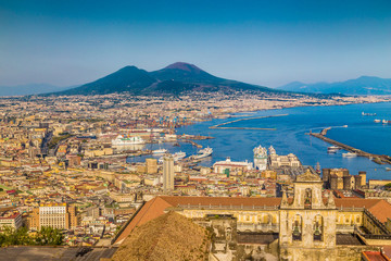 City of Naples with Mt. Vesuv at sunset, Campania, Italy