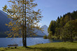 canvas print picture - Ruhebank am Plansee, Tirol