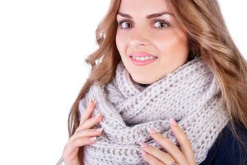 beautiful girl model in stylish knitted scarf, studio shooting