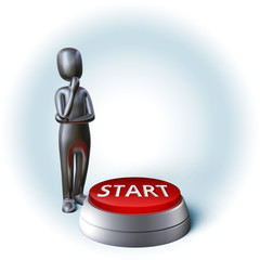Silver Character thinking about decision pushing start button