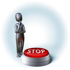 Silver Character thinking about decision pushing stop button