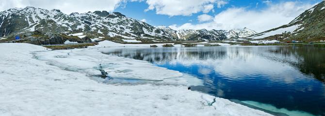 Summer Alps mountain lake panorama  (Switzerland)