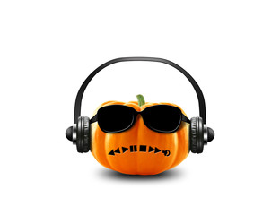 Pumpkin on haloween in the headphones and glasses