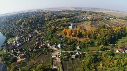 Aerial Church of the Assumption in Sednev Ukraine