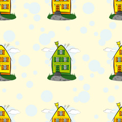 Seamless vector pattern with cartoon houses