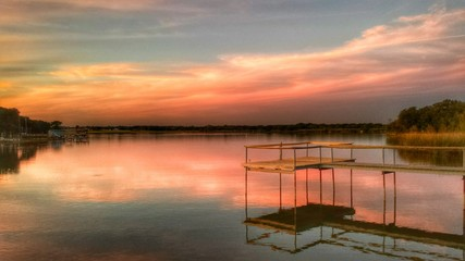 Pink Lake sunset with pier