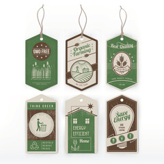 Vintage green labels