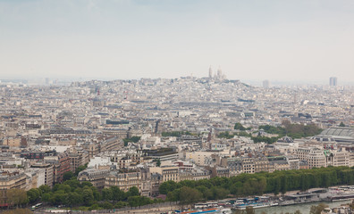 Aerial View of Montmartre Hill fron Eiffel tower