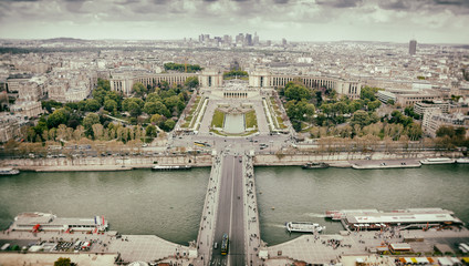 Panorama of Paris, the Trocadero and La Defense.