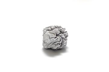 white crumpled paper ball