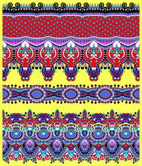 seamless ethnic floral paisley stripe pattern, border set