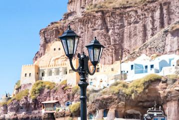 Streetlight and traditional houses in Santorini island - Greece