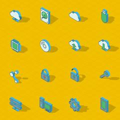 Colorful vector isometric flat design icon set