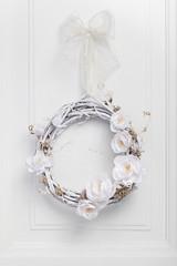 White festive twig wreath
