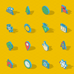 Colorful vector isometric flat design icon set