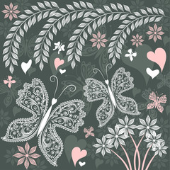 Summer grey background with white and pink butterflies