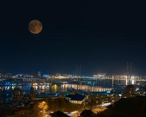 Night View of Bridge over Golden Horn (Zolotoy Rog) Bay.
