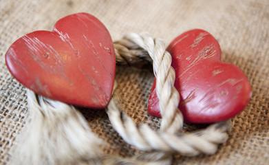 deux coeurs et corde d'union