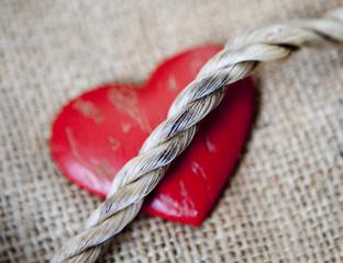 coeur et lien en corde
