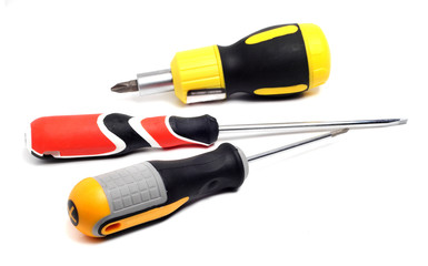 three quality screwdriver on a white background