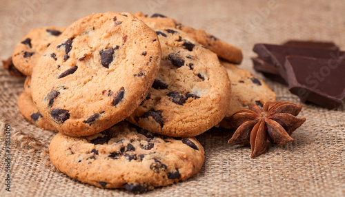 Tuinposter Koekjes Cookies with chocolate chips