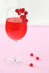 Red Currant Drink in transparent glass
