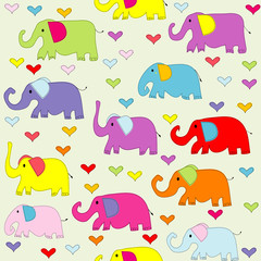 Cartoon colored elephants seamless pattern