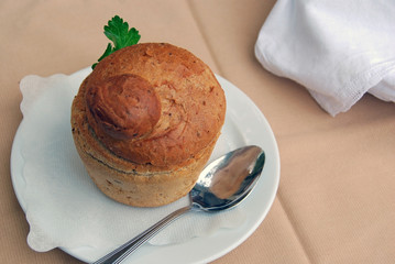 Mushroom soup in a bread cup
