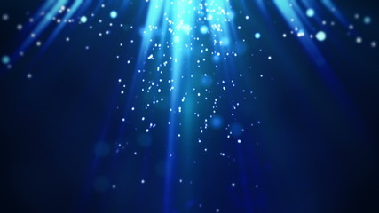 magic blue light rays and particles loop