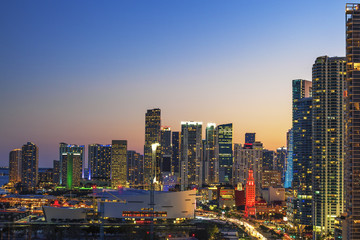 Horizontal view of Miami downtown at sunset