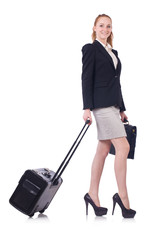 Travelling businesswoman isolated on the white