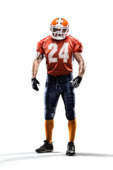 American football player in action isolated on white background