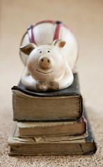livre ancien et cochon-tirelire