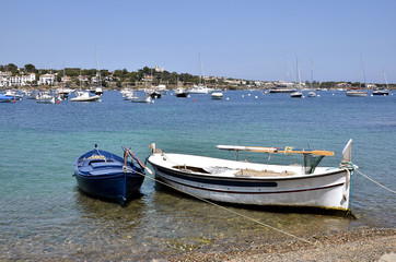 Small boats at Port Cadaqués in Spain