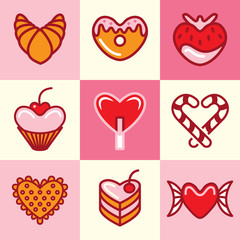 Sweets icons vector set