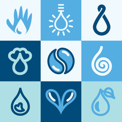 Water icons vector set