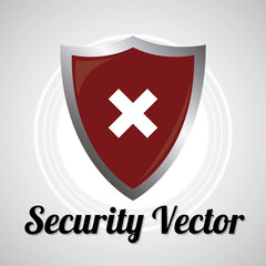 shield security sistem for web or computer vector over gray colo