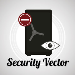 strong box security sistem for web or computer vector over gray