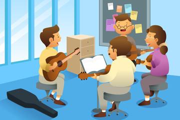 Adults in a guitar class