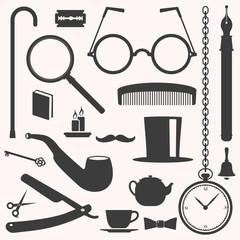 Gentlemens vintage stuff design elements collection