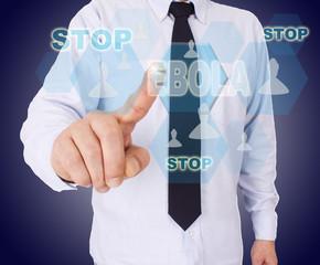 Businessman pressing button Ebola