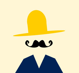 man with big mustache and big yellow hat