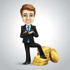 Vector businessman cartoon character put foot on money
